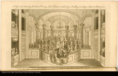 Mr. Garrick delivering his Ode, at Drury Lane Theatre, on dedicating a Building & erecting a Statue, to Shakespeare.