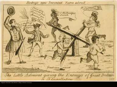 Rodny's [sic] new Invented Turn about. The Little Admiral giving the Enemy's [sic] of Great Britain a Flagellation