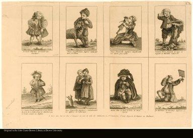 Le Lord Rawdon ... ; Jeune Gentilhomme Angllois s'amusant ...; Jeune Demoiselle Anglaise satisfaisant ... ; l'Amiral Biron pleurant de rage ... ; Le traitre Arnold enragé ...; Deux Demoiselles Anglaises s'entraitonants ...; Michel Wite en deuil ...; un Habitant de Gibraltar ...