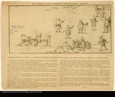 DEN DOOR LIST en GEWELD AANGEVALLEN LEEUW. [The lion attacked by cunning and force].