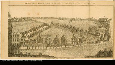 A VIEW of LORD BUTE'S ERECTIONS at Kew; with some Part of Kew Green, and Gardens.