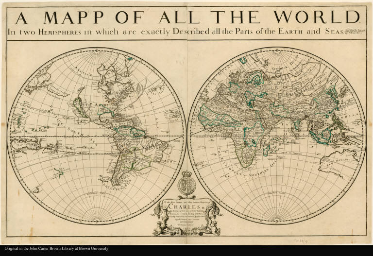 A mapp of all the world in two hemispheres in which are exactly described all the parts of the earth and seas described by Sanson ; corrected and amended by William Berry