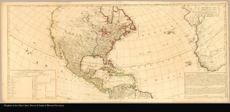 [North America] A map of the whole continent of America divided into North and South and West Indies with a copius table fully shewing the several possessions of each European Prince & State, as settled by the definitive treaty concluded at Paris Feby. 10th 1763 the clauses of which relative thereto are inserted compiled from Mr. D'Anvilles maps of that continent, 1772