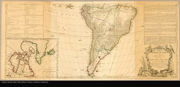 [South America] A map of the whole continent of America divided into North and South and West Indies with a copius table fully shewing the several possessions of each European Prince & State, as settled by the definitive treaty concluded at Paris Feby. 10th 1763 the clauses of which relative thereto are inserted compiled from Mr. D'Anvilles maps of that continent, 1772