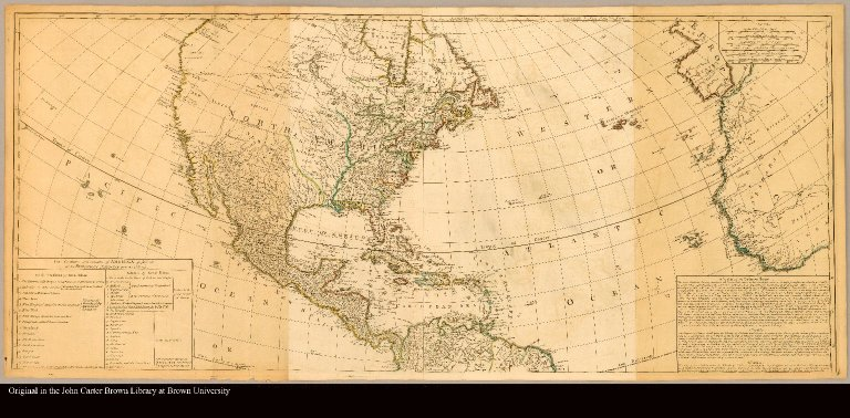 [North America] A new map of the whole continent of America divided into north and south and West Indies with a descriptive account of the European possessions, as settled by the definitive treaty of peace, concluded at Paris Feby. 10th. 1763 compiled from Mr. D'Anville's maps of that continent and corrected in the several parts belonging to Great Britain, from the original materials of Governor Pownall, M.P