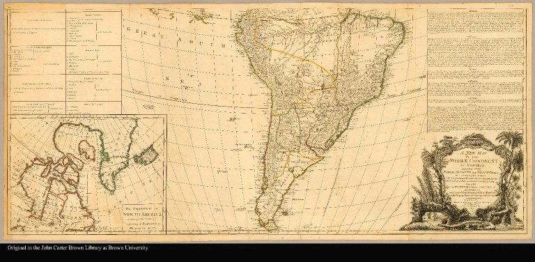 [South America] A new map of the whole continent of America divided into north and south and West Indies with a descriptive account of the European possessions, as settled by the definitive treaty of peace, concluded at Paris Feby. 10th. 1763 compiled from Mr. D'Anville's maps of that continent and corrected in the several parts belonging to Great Britain, from the original materials of Governor Pownall, M.P