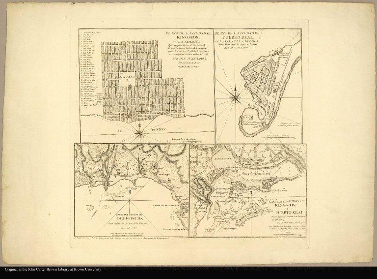 Plano de la Ciudad de Kingston en la Jamaica segun el proyecto del Coronel Christiano Lilly. Le trahe Bontein con la carta de la Jamayca publicado el año de 1753; y Bellin le copio y puso en su descripcion de las Islas Antillas, el de 1758