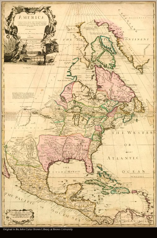 North America corrected from the observation communicated to the Royal Society at London and the Royal Academy at Paris by Iohn Senex. Cha. Price. & Iohn Maxwell. Geogrs. 1710