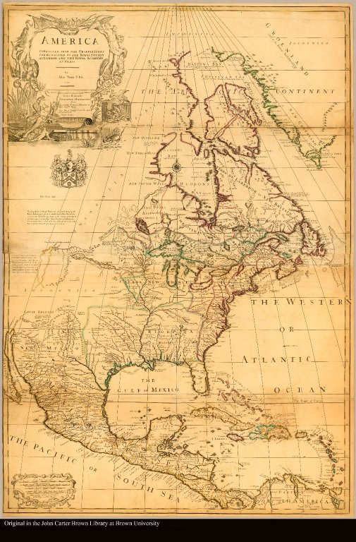 North America corrected from the observations communicated to the Royal Society at London, and the Royal Academy at Paris by Iohn Senex F.R.S. 1710