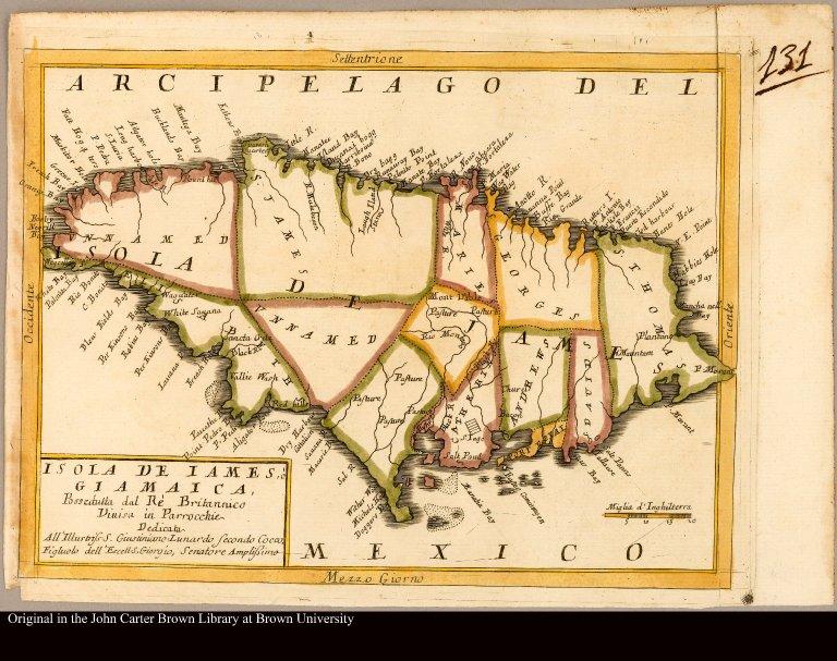 Isola de Iames, ò Giamaica, Possedutta dal Ré Britannico Divisa in Parrocchhie ...
