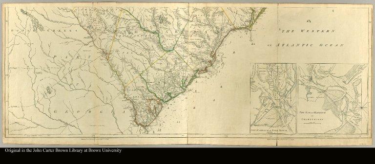 [bottom half of a map of North and South Carolina]
