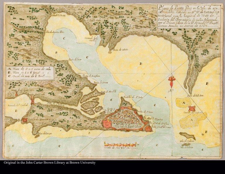 Plano de Puerto Rico en la Isla de este Nombre cituado en 18°37 de Latitud Septentrional y en la longitud de 59.13 de Ocidente del Observatorio de Cadiz. Lebantado por el Primer Pilote de la Rl. Armada Por Fran[si]co Ramon Mendez en Marzo de 1783