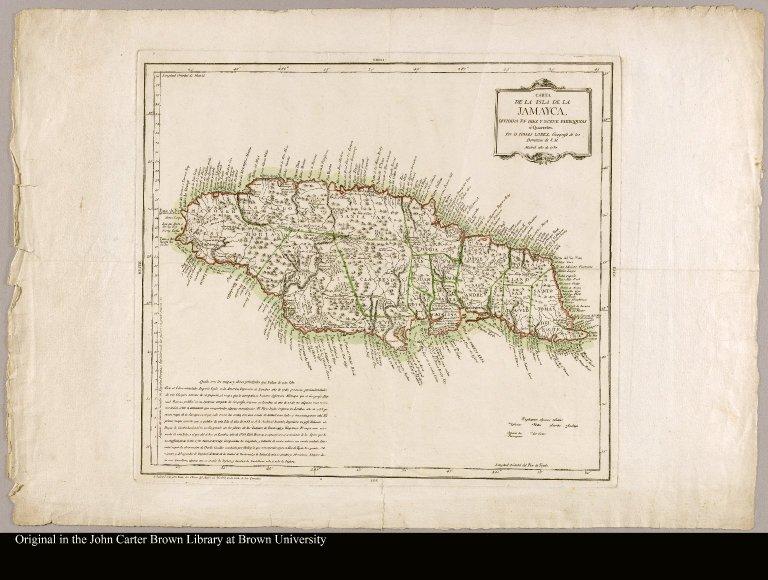 Carta de la isla de la Jamayca dividida en diez y nueve parroquias ó quarteles / por D. Tomas Lopez, geografo de los Dominios de S.M