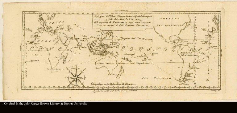 Indicazione del Primo Viaggio intorno al Globo Terracqueo fatto dalla nave La Vittoria della Squadra di Magaglianes negli anni 1519-1522
