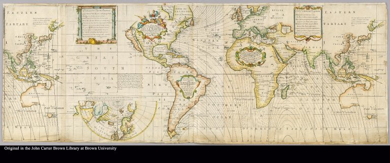 Nova & Accuratissima Totius Terrarum Orbis Tabula Nautica Variationum Magneticarum Index Juxta Observationes Anno. 1700 habitas constructa per Edm. Halley = A new and correct chart of the whole world shewing the variations of the compass as they were found in the year M.D.CC
