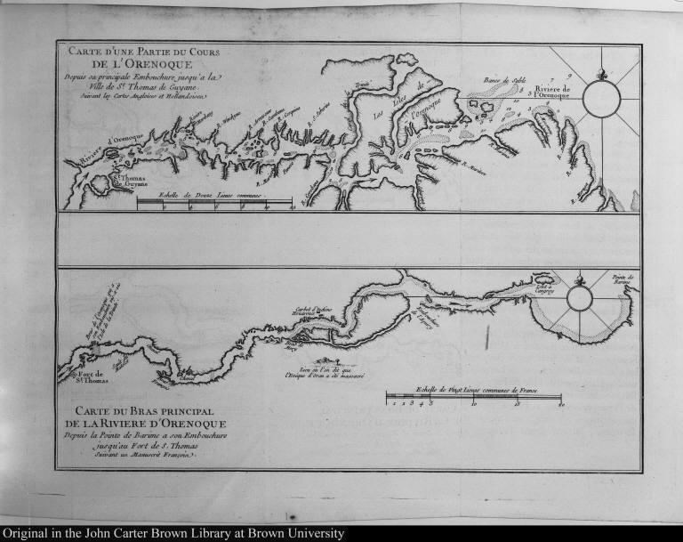 [top] Carte d'une Partie du Cours de l'Orenoque ... [bottom] Carte du Bras principal de la Riviere d'Orenoque ...