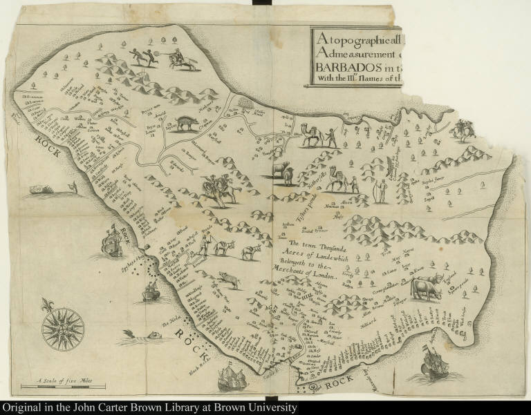 A topographicall [Description and] Admeasurement [of the yland of] Barbados in t[he West Indyaes] with the Mrs. [Names of the Seuerall plantacons]