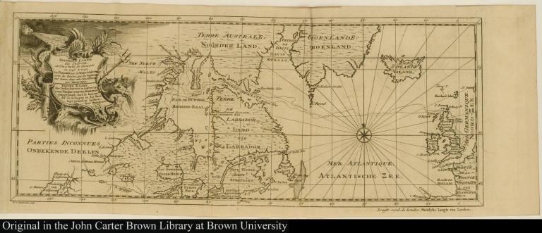 Nouvelle Carte des Endroits, où l'on a taché de découvirir en 1746 & 1747 un Passage par le Nord-ouëst, avec les Routes, que les Vaisseaux ont tenues ... Nieuwe Kaart ....