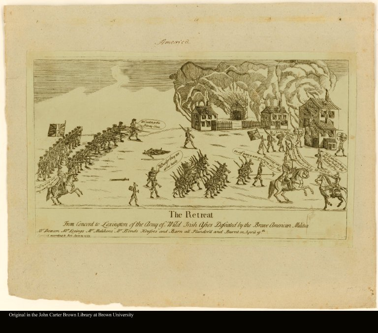 The Retreat From Concord to Lexington of the Army of Wild Irish Asses Defeated by the Brave American Mlilitia.