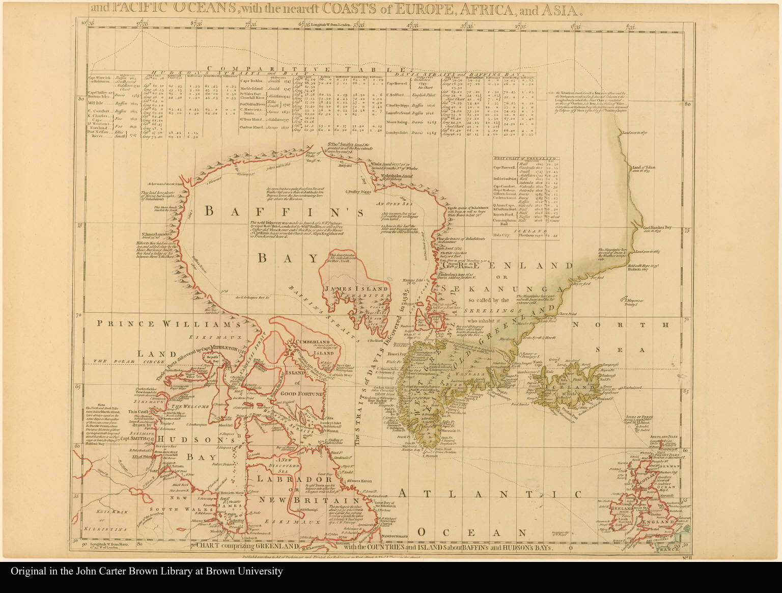 Sheet II. Chart comprizing Greenland with the countries and islands about Baffin's and Hudson's Bays --