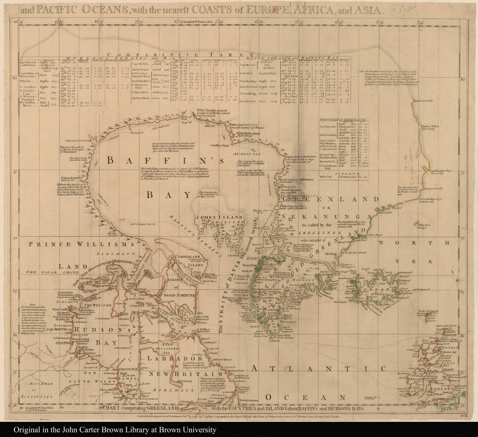 II. Chart comprizing Greenland with the countries and islands about Baffin's and Hudson's Bays --