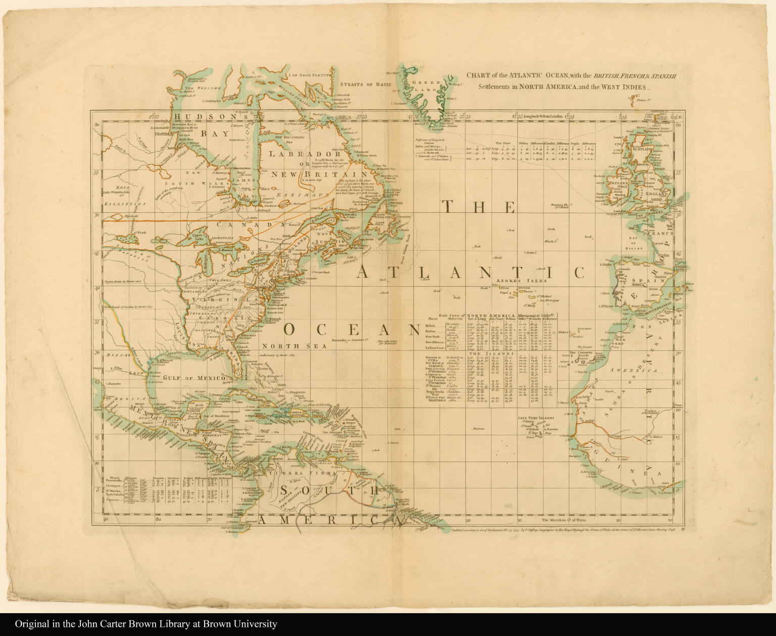 Sheet IV. Chart of the Atlantic Ocean, with the British, French, & Spanish settlements in North America, and the West Indies ... --