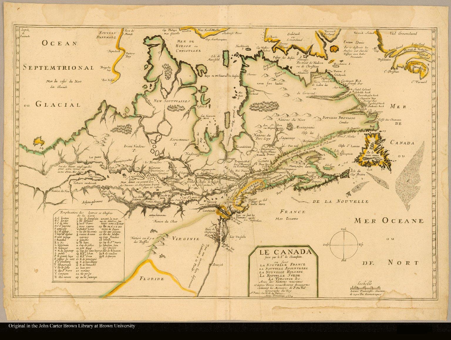 Le Canada faict par le Sr de Champlain. ou sont la Nouvelle France la Nouvelle Angleterre la Nouvelle Hollande la Nouvelle Suede la Virginie &c. Avec les nations voisines et autres terres nouvellement découvertes suivant les mémoires de P. Du Val géographe du Roy