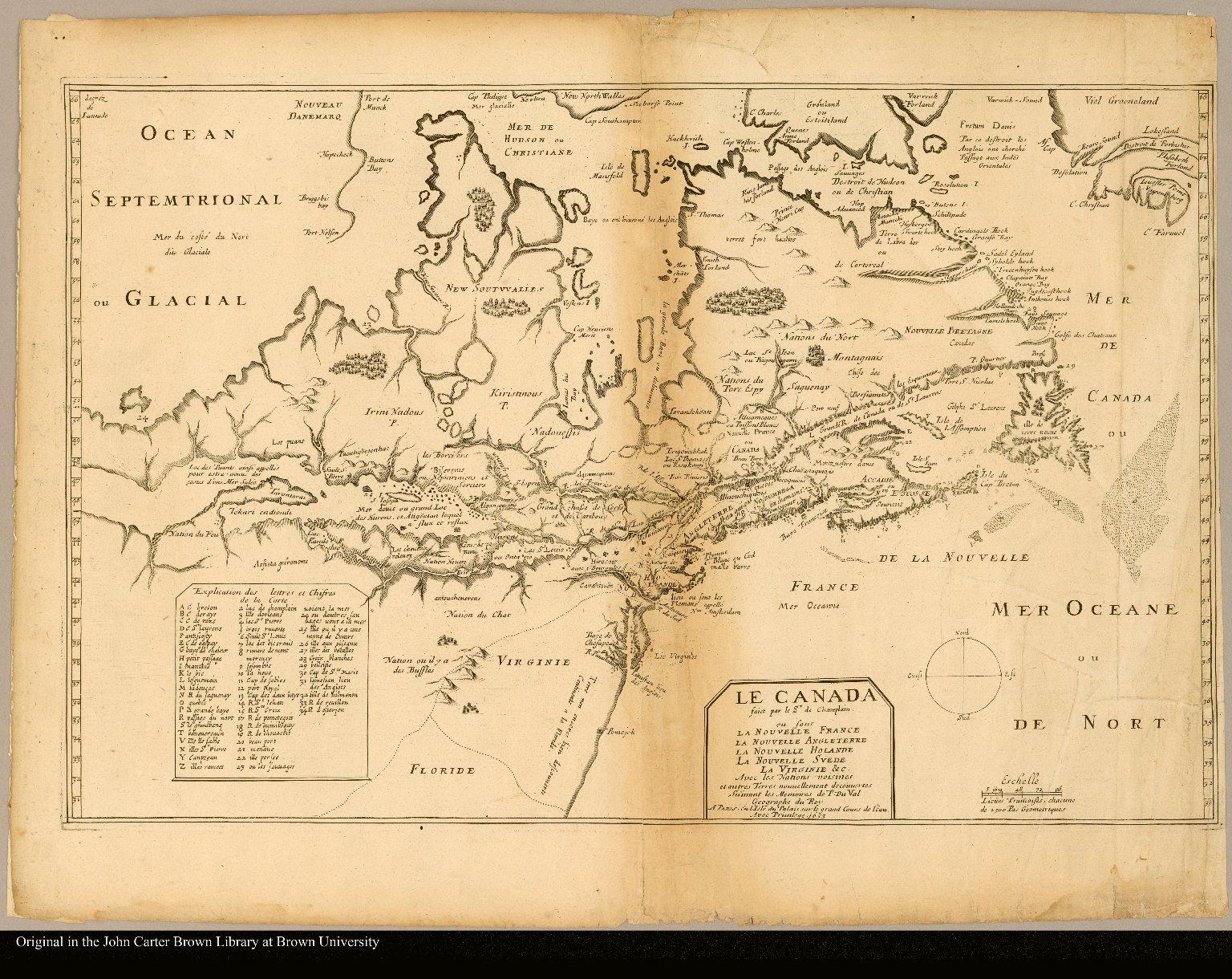 Le Canada faict par le Sr de Champlain, ou sont la Nouvelle France la Nouvelle Angleterre la Nouvelle Hollande la Nouvelle Suede la Virginie & c avec les nations voisines et autres terres nouvellement découvertes suivant les mémoires de P. Du Val géographe du roy