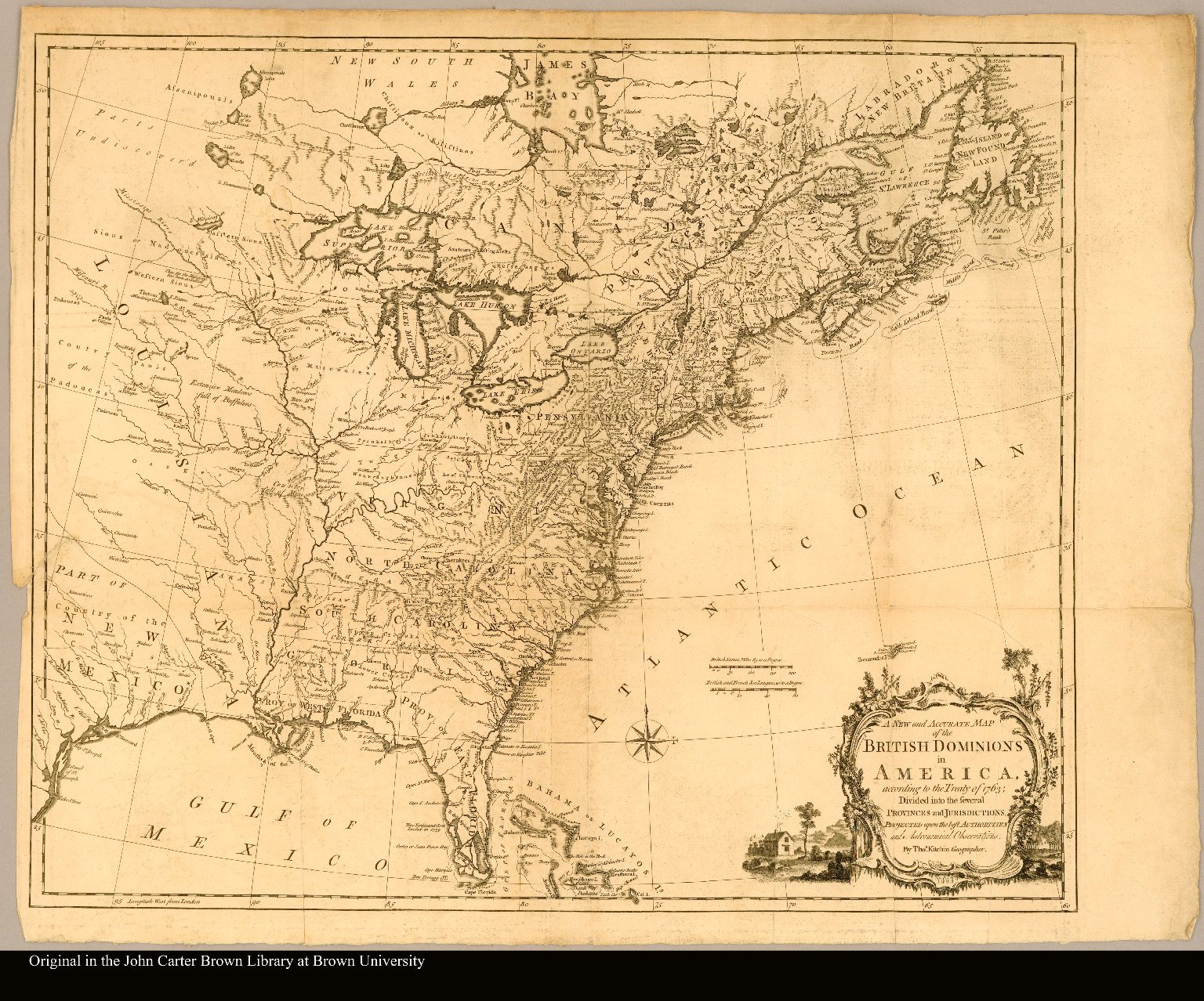 A new and accurate map of the British dominions in America, according to the Treaty of 1763; divided into the several provinces and jurisdictions. Projected upon the best authorities and astronomical observations. By Thos. Kitchin, geographer