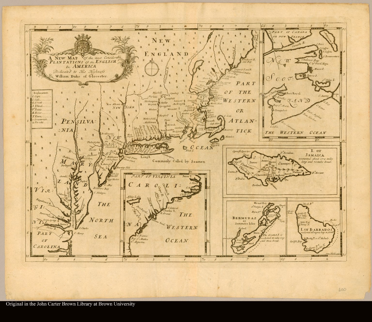 A new map of the most considerable plantations of the English in America Sutton Nicholls, sculp