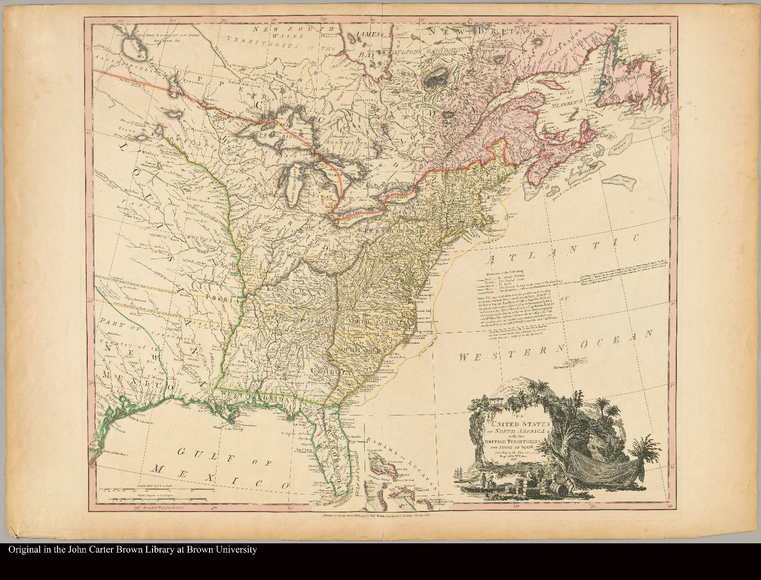 The United States of North America with the British territories and those of Spain, according to the Treaty, of 1784 engrav'd by Wm. Faden