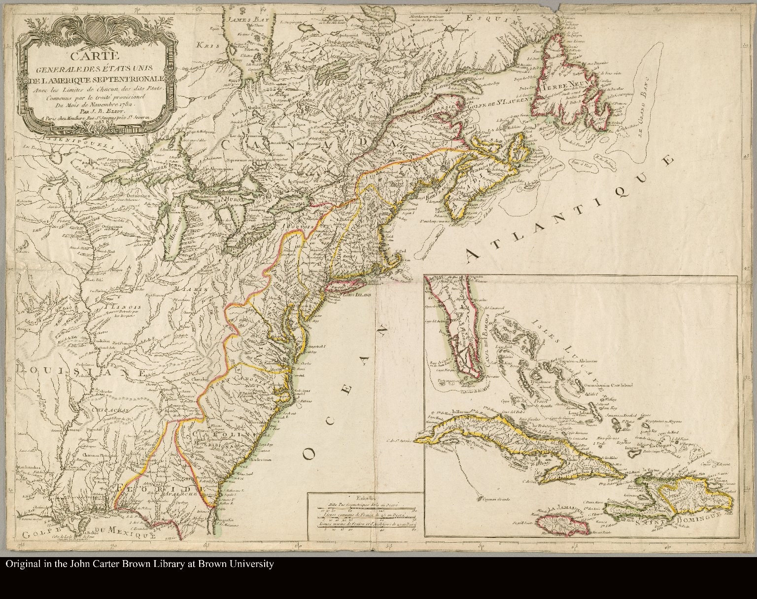 Carte generale des États Unis de l'Amerique Septentrionale avec les limites de chacun des dits Etats, convenus par le traité provisional du mois de novembre 1782 Par J.B. Eliot