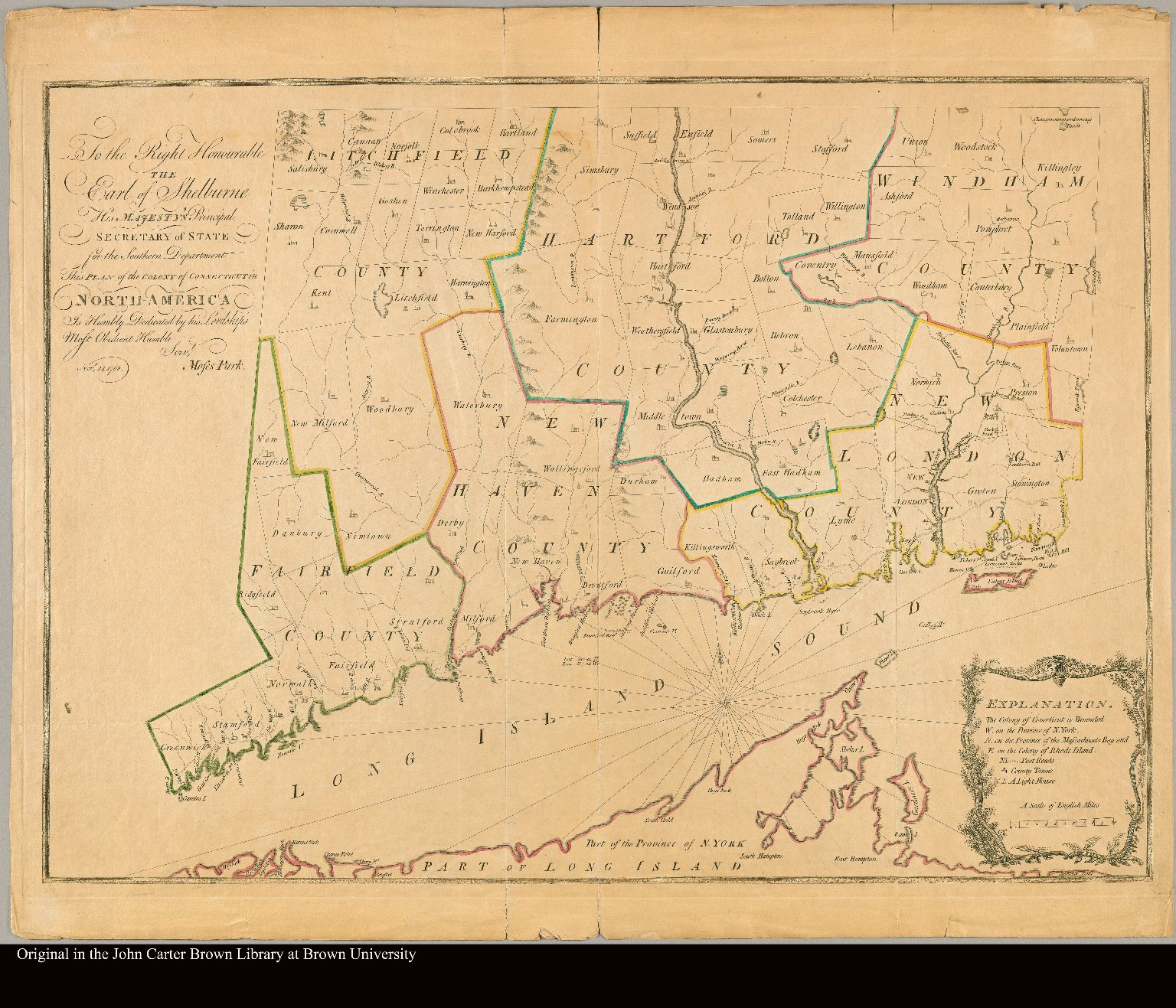 To the Right Honourable the Earl of Shelbourne, His Majesty's Principal Secretary of State for the Southern Department this plan of the Colony of Connecticut in North-America is humbly dedicated by His Lordship's most obedient humble servt. Moses Park. Novr. 24, 1766