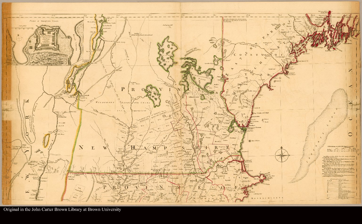 [A map of the most inhabited part of New England containing the provinces of Massachusets Bay and New Hampshire, with the colonies of Konectikut and Rhode Island, divided into counties and townships: ...]