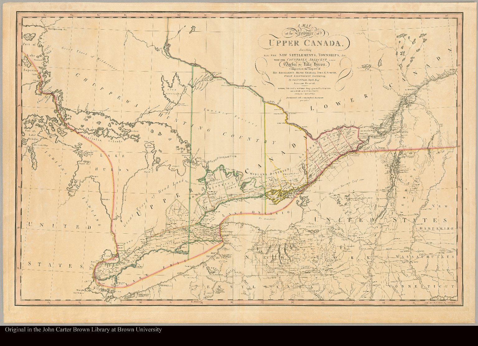 A map of the province of Upper Canada describing all the new settlements, townships, &c., with the countries adjacent, from Quebec to Lake Huron : compiled at the request of His Excellency Major General John G. Simcoe, First Lieutenant Governor / cby David William Smyth, Esqr., Surveyor General