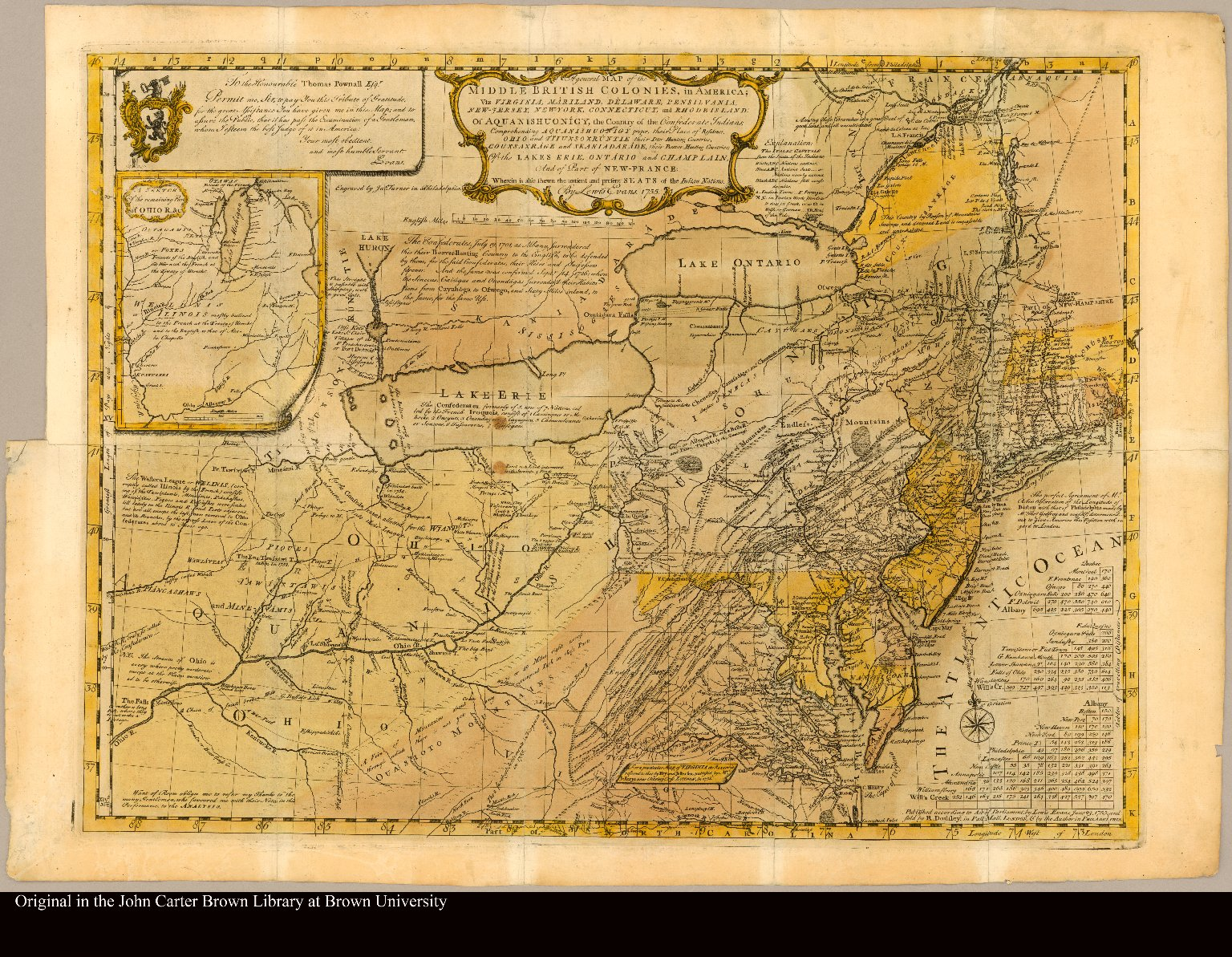 A general map of the middle British colonies, in America; viz. Virginia, Mariland, Delaware, Pensilvania, New-Jersey, New-York, Connecticut, and Rhode Island: Of Aquanishuonîgy, the country of the Confederate Indians; comprehending Aquanishuonîgy proper, their place of residence, Ohio and Tïiuxsoxrúntie, their deer-hunting countries, Couxsaxráge and Skaniadarâde, their beaver-hunting countries; of the Lakes Erie, Ontário, and Champlain, and part of New-France: Wherein is also shewn the antient and present seats of the Indian nations by Lewis Evans. 1755