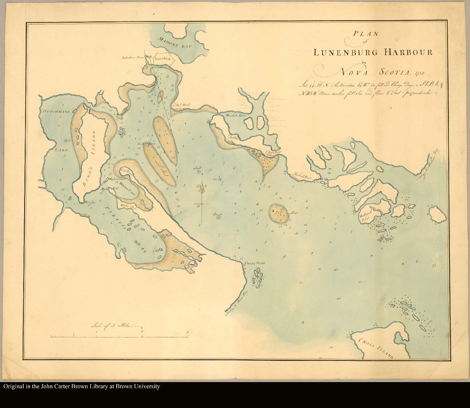 Plan of Lunenburg Harbour in Nova Scotia 1753. Lat. 44°. 26'N. The variation 14° Wst. On full and change days a S.E.B.E. & NWBW moon makes full sea and flows 6 feet perpendicular