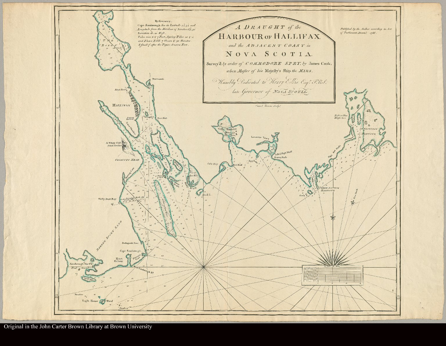 A draught of the Harbour of Hallifax and the adjacent coast in Nova Scotia survey'd by order of Commodore Spry by James Cook, when master of his majesty's ship the Mars