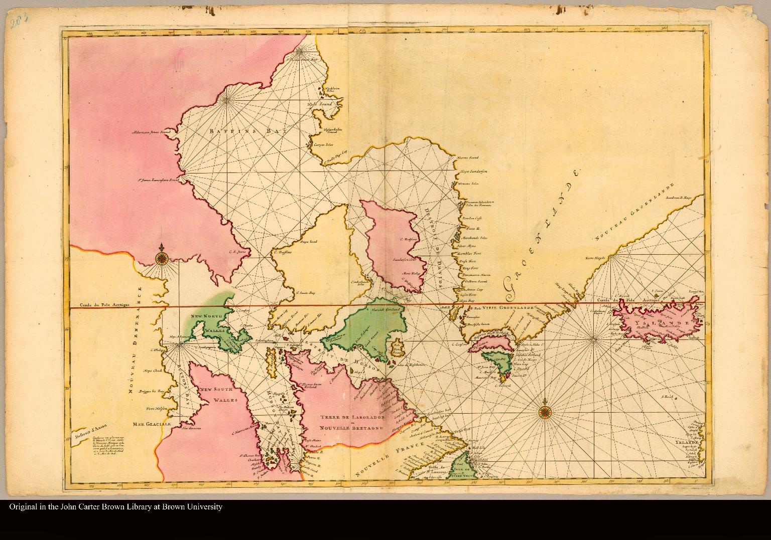 [Carte particulière de l'Amerique septentrionale ou sont compris le destroit de Davids, le destroit de Hudson ...]