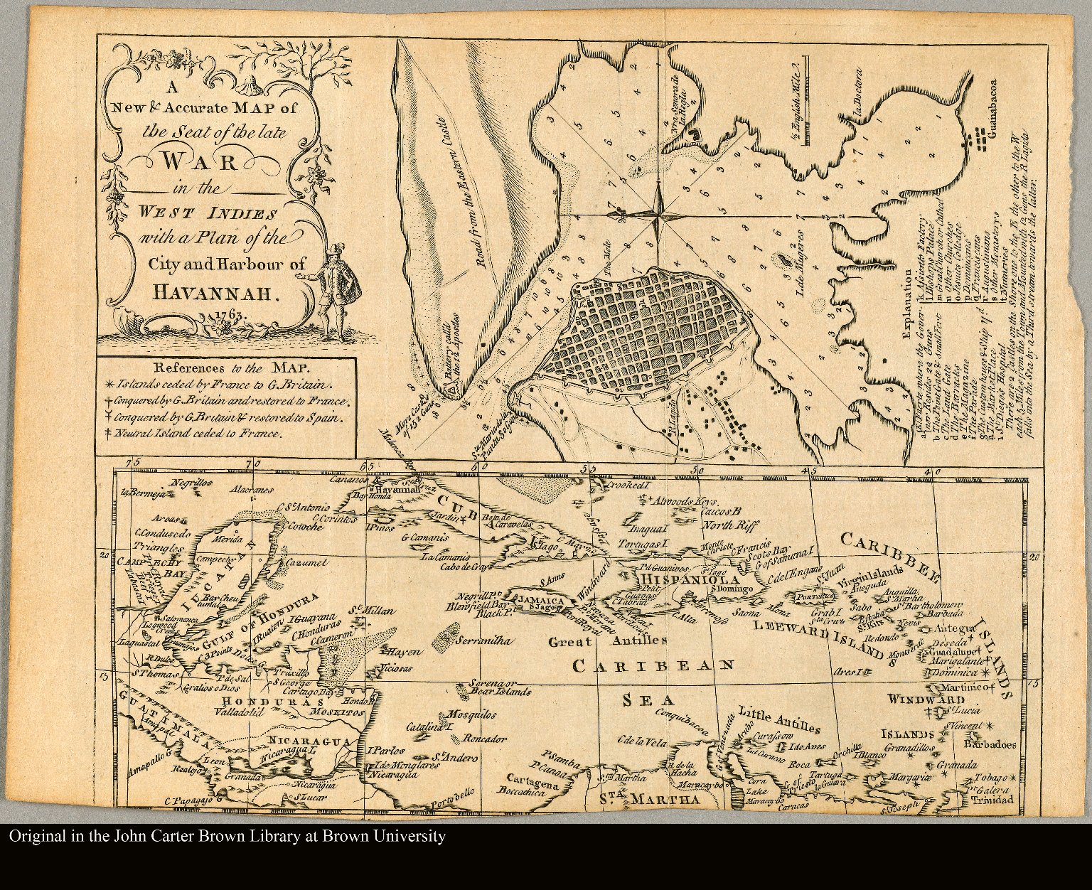 A new & accurate map of the seat of the Late War in the West Indies with a plan of the City and Harbour of Havannah