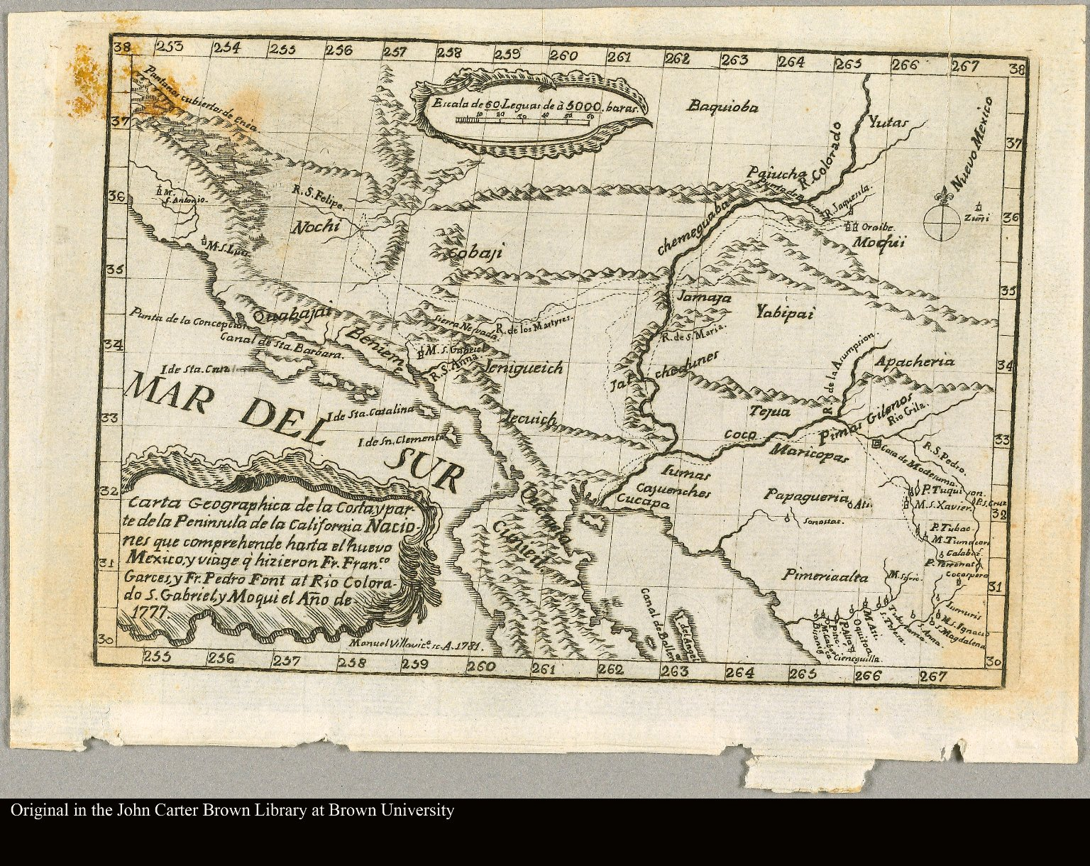 Carta geographica de la costa, y parte de la Peninsula de la California Naciones que comprehende hasta el Nuevo Mexico, y viage q'hizieron Fr. Franco. Garces, y Fr. Pedro Font al Rio Colorado, S. Gabriel, y Moqui el año de 1777