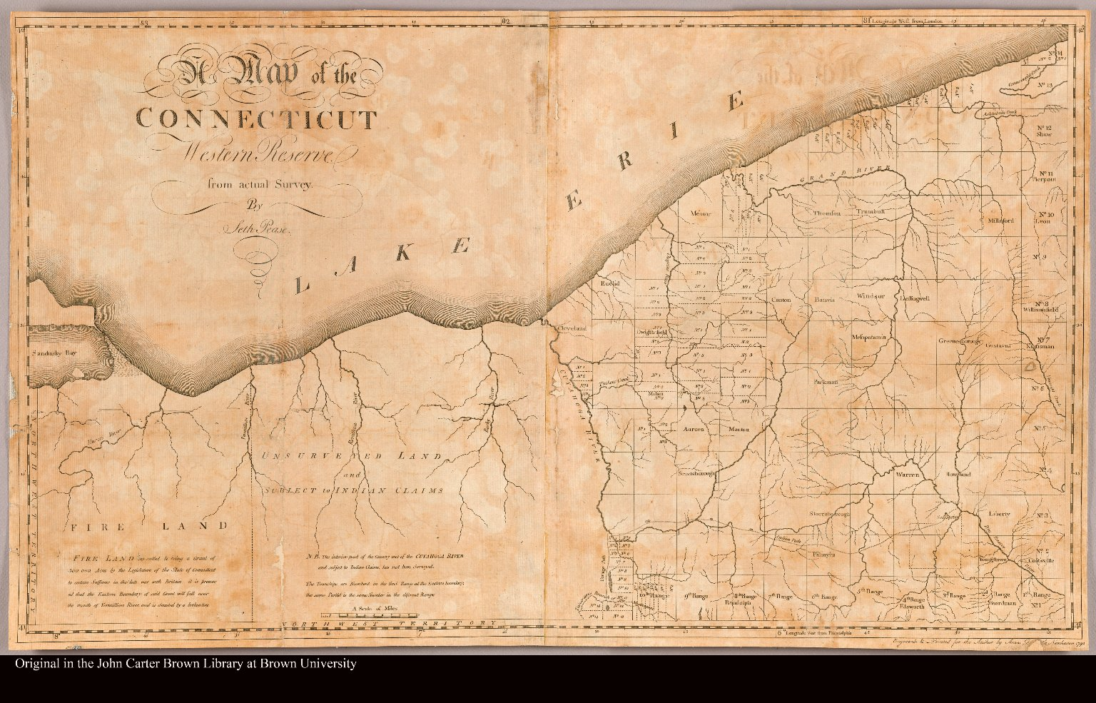 A map of the Connecticut Western Reserve from actual survey by Seth Pease