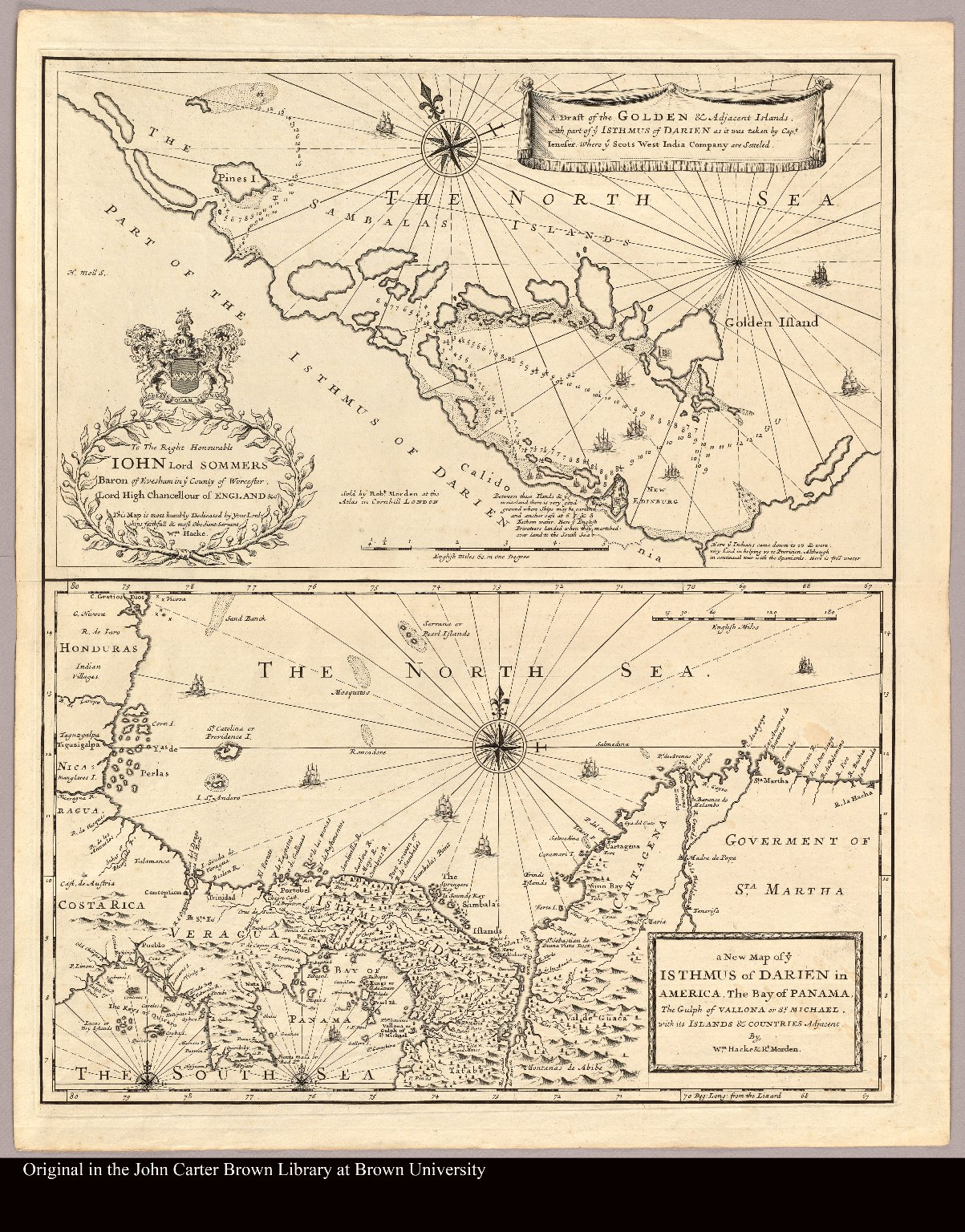 A draft of the Golden & Adjacent Islands with part of ye Isthmus of Darien as it was taken by Capt. Ienefer where ye Scots West India Company were setteled and, A new map of ye Isthmus of Darien in America, the Bay of Panama, the Gulph of Vallona or St. Michael, with its Islands & countries adjacent by Wm. Hacke & Rt. Morden