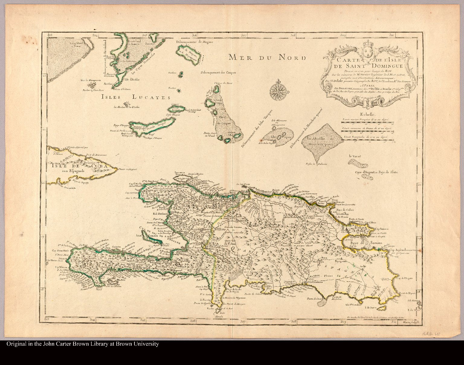 Carte de l'Isle de Saint Domingue dressée en 1722 pour l'usage du Roy sur les mémoires de Mr. Frezier Ingénieur de S. M. et autres, ... par G. Delisle premier géographe du Roy, de l'Académie rle. des Sciences