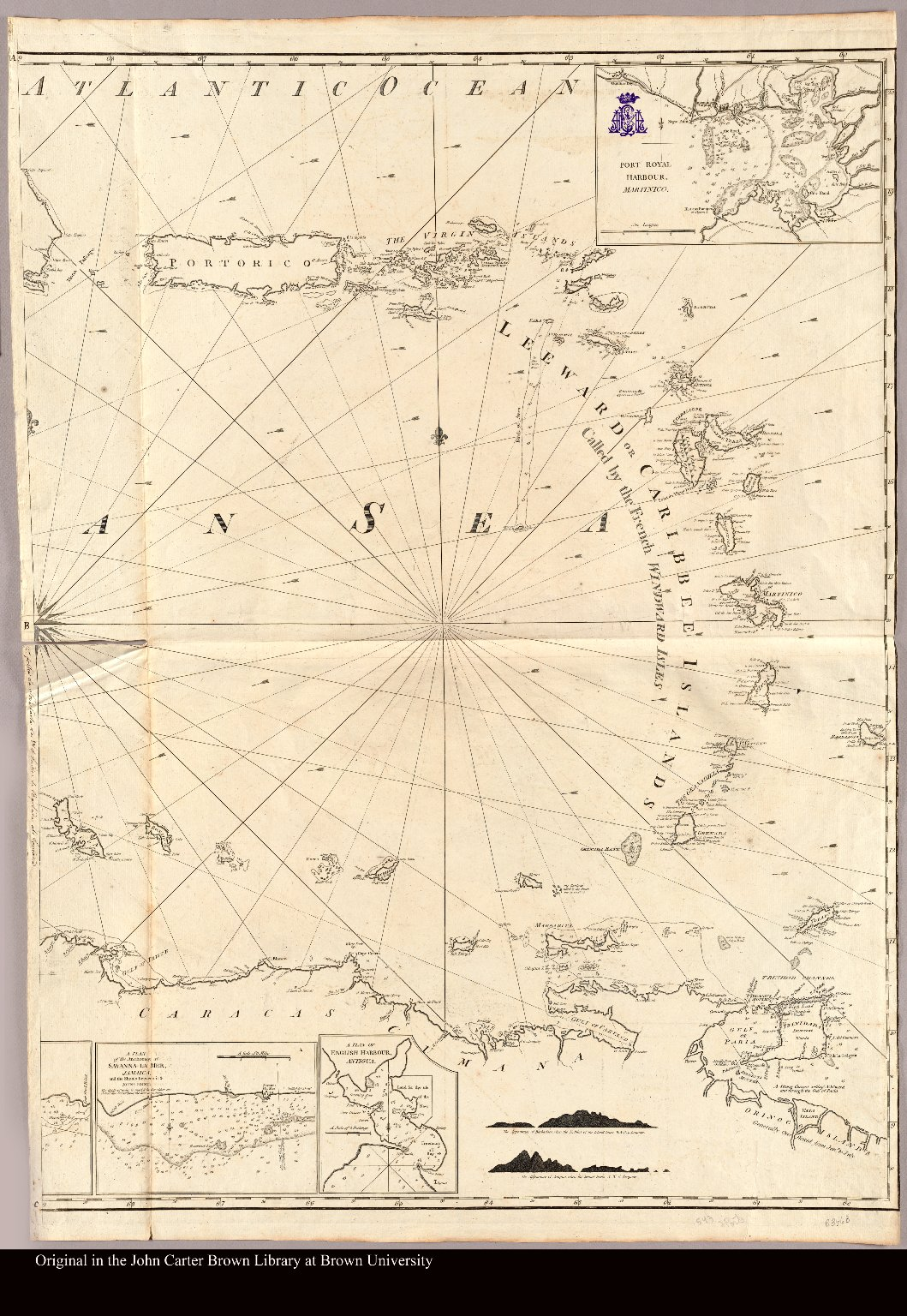 [Map of the Caribbean islands, including Puerto Rico and the Antilles or Leeward Islands]