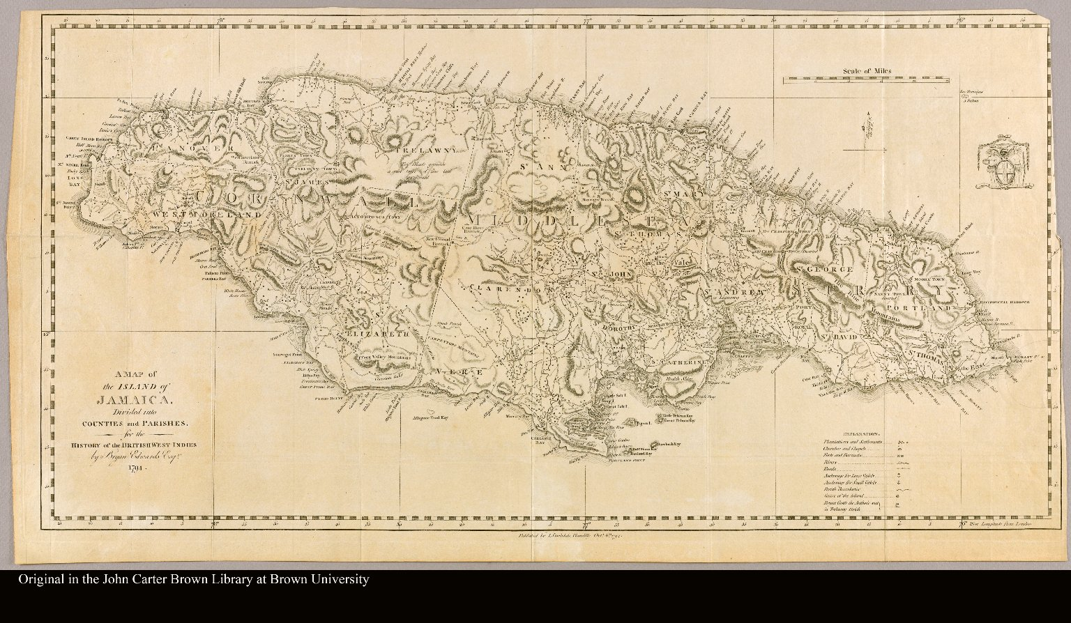 a map of the island of jamaica divided into counties and