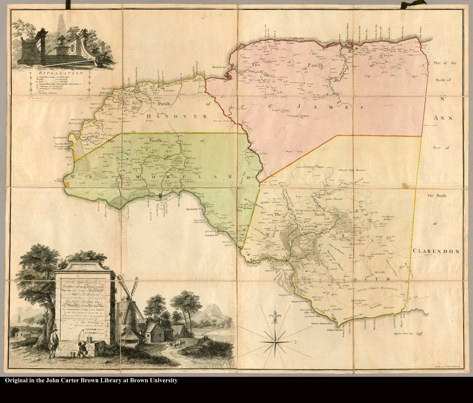 To the Right Honorable Robert Earl of Holdernesse, this map of the County of Cornwall, in the island of Jamaica (laid down from the papers, and under the direction of Henry Moore Esqr. His Majesty's Lieutenant Governor, and Commander in Chief of that Island, in the years 1756, -57, -58, -59, -60, & 61 ; & from a great number of actual surveys performed by the publishers) is humbly inscribed by ... Thos. Craskell engineer, Jas. Simpson surveyor