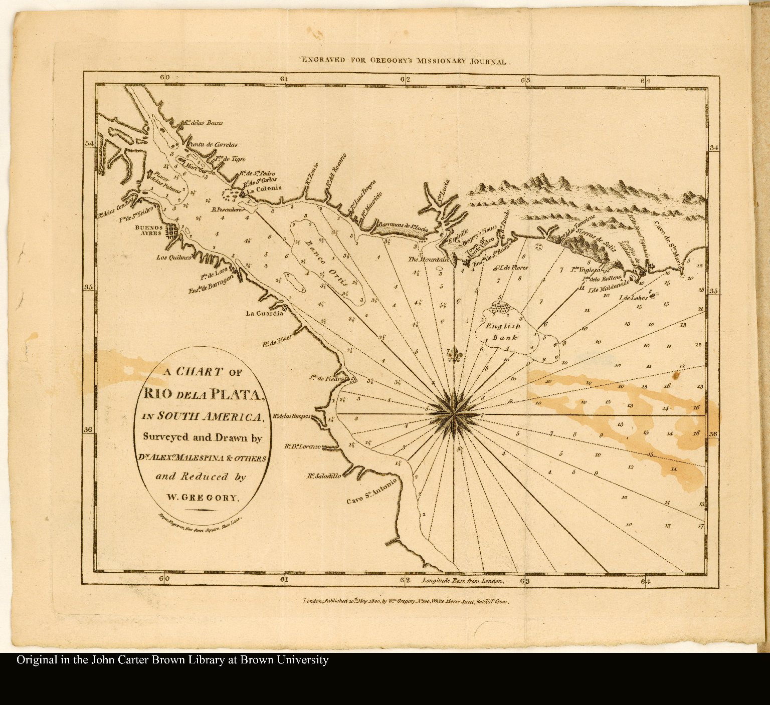 A Chart of Rio de la Plata, in South America, Surveyed and Drawn by Dn. Alexo. Malespina & Others and Reduced by W. Gregory.