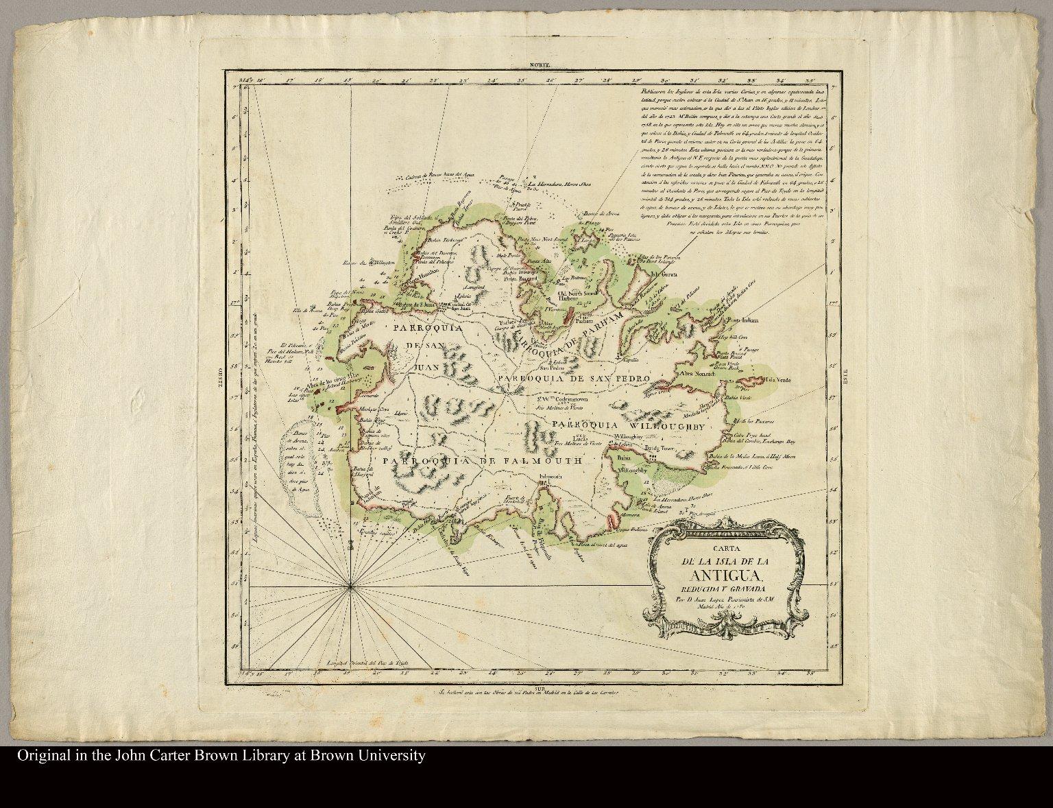 Carta de la isla de la Antigua reducida y gravada por D. Juan Lopez, Pensionista de S.M