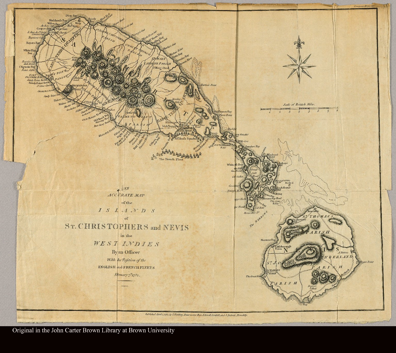 An accurate map of the islands of St. Christophers and Nevis in the West Indies